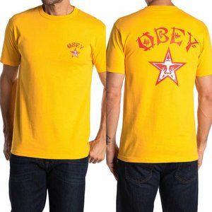 Obey Tokyo Gold, Red & White Logo Crewneck T-Shirt